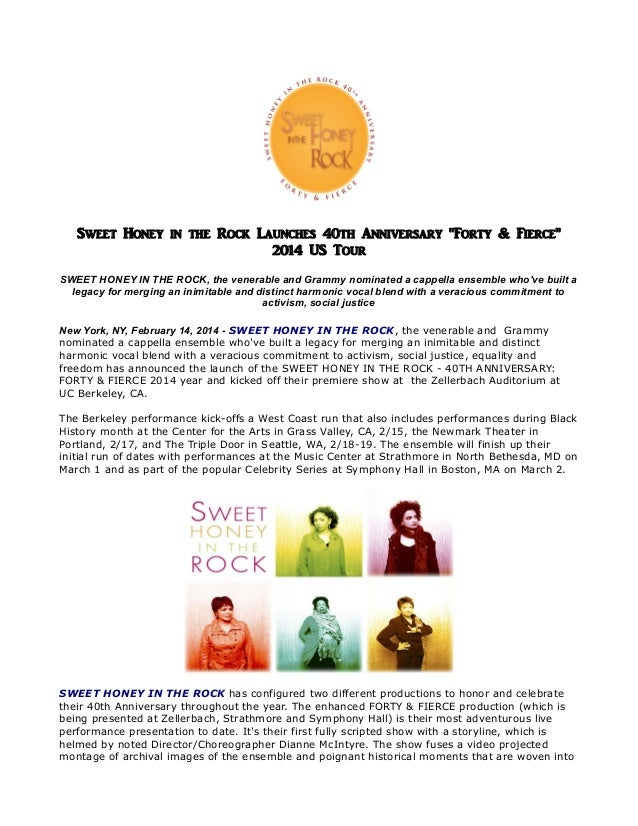 Sweet honey in the rock launches 40th anniversary forty & fierce 2014 us tour