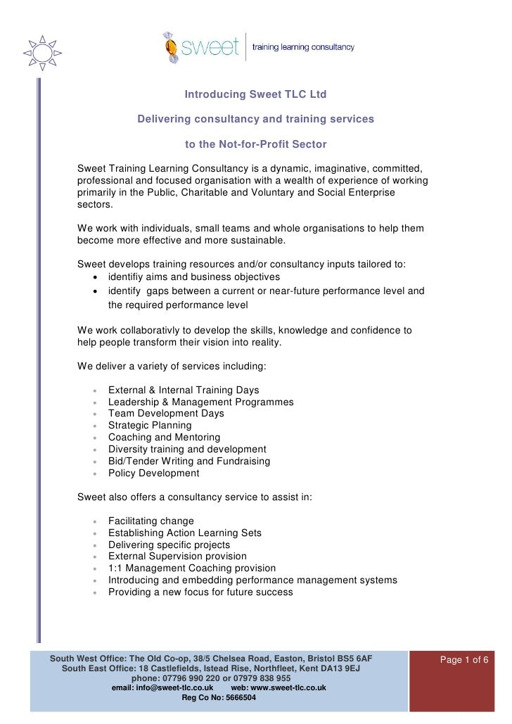 Introducing Sweet TLC Ltd                      Delivering consultancy and training services                               ...