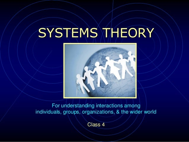 SYSTEMS THEORY For understanding interactions among individuals, groups, organizations, & the wider world Class 4