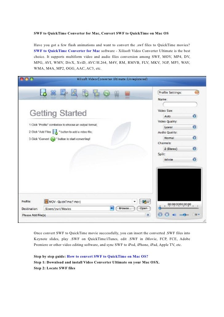 SWF to QuickTime Converter for Mac, Convert SWF to QuickTime on Mac OS