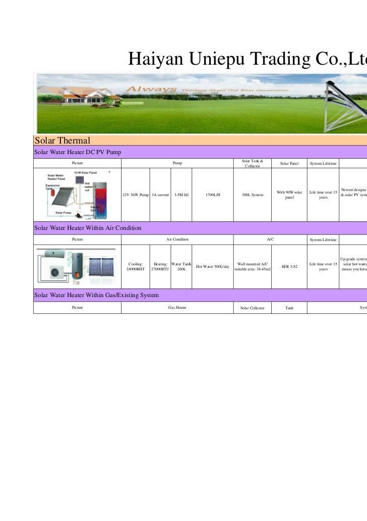 Haiyan Uniepu Trading Co.,LtdSolar ThermalSolar Water Heater DC PV Pump                                                   ...