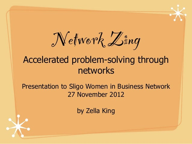 Network ZingAccelerated problem-solving through             networksPresentation to Sligo Women in Business Network       ...