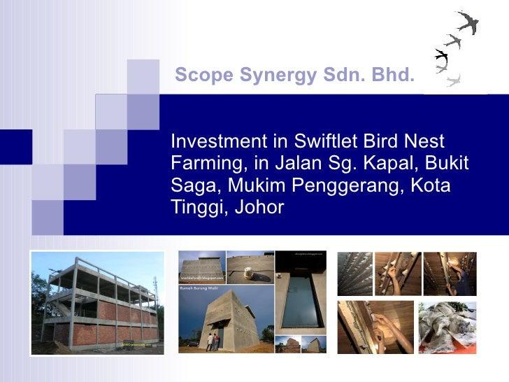 Investment in Swiftlet Bird Nest Farming, in Jalan Sg. Kapal, Bukit Saga, Mukim Penggerang, Kota Tinggi, Johor Scope Syner...
