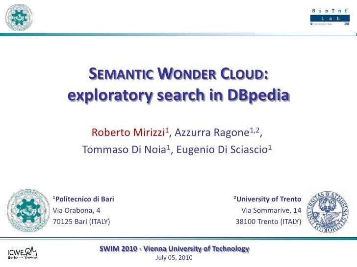 SWOC - Semantic Wonder Cloud: Exploratory Search in DBpedia - SWIM 2010
