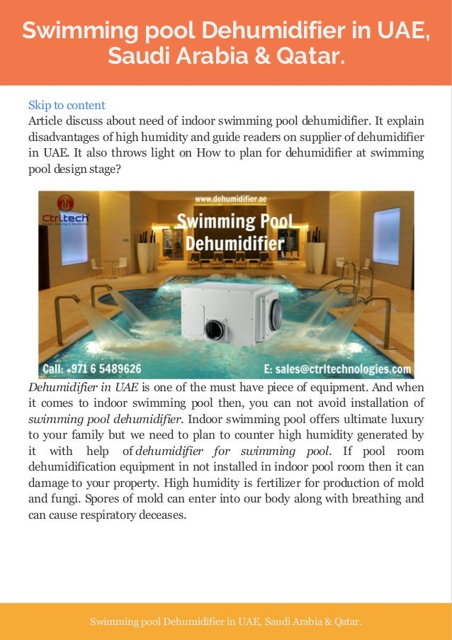 Dehumidifier for swimming pool or swimming pool dehumidifier in uae for Disadvantage of indoor swimming pool
