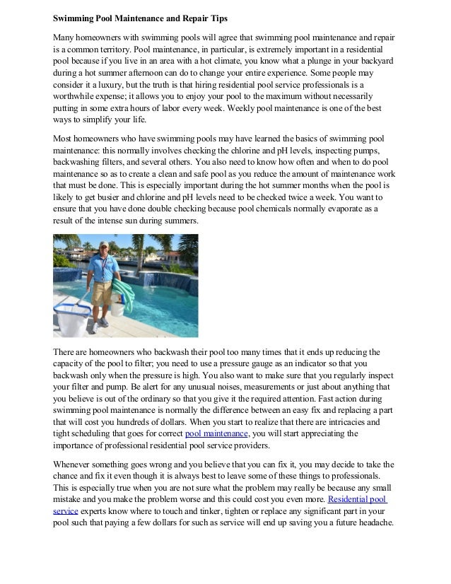 Swimming Pool Maintenance And Repair Tips