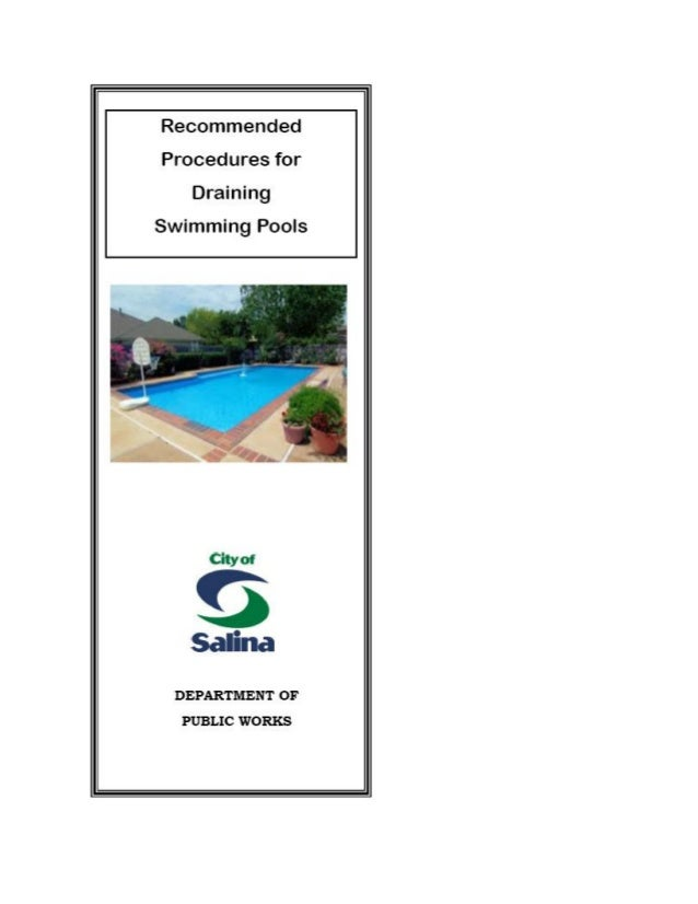 City Of Salina Brochure Reccomended Procedures For Draining Swimming
