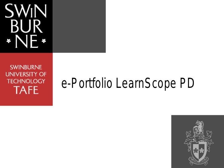 e-Portfolio LearnScope PD