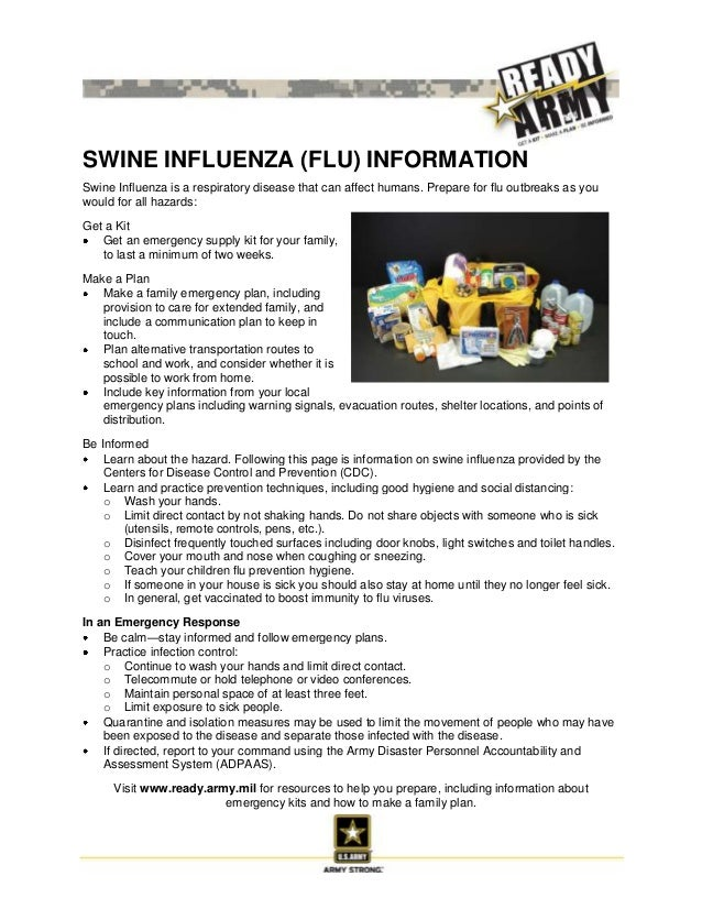 SWINE INFLUENZA (FLU) INFORMATIONSwine Influenza is a respiratory disease that can affect humans. Prepare for flu outbreak...
