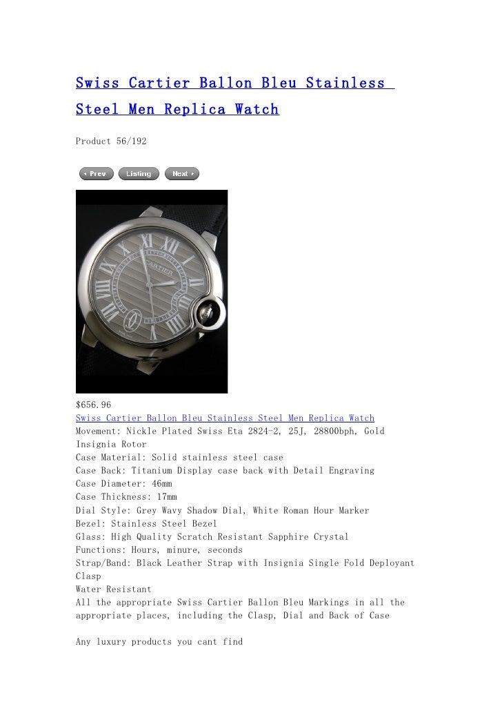 Swiss cartier ballon bleu stainless steel men replica watch