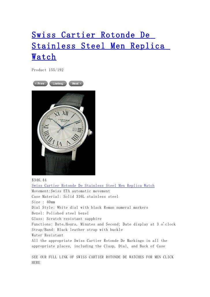 Swiss cartier rotonde de stainless steel men replica watch