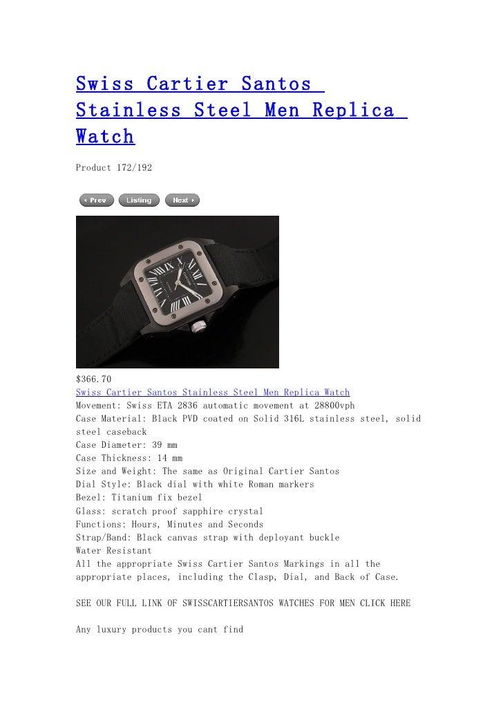 Swiss cartier santos stainless steel men replica watch