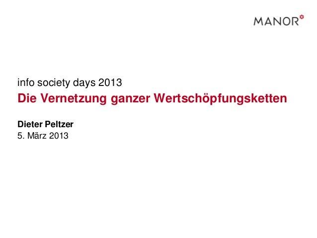 info society days 2013Die Vernetzung ganzer WertschöpfungskettenDieter Peltzer5. März 2013