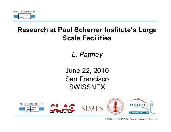 Light Sources - Paul Scherrer Institute