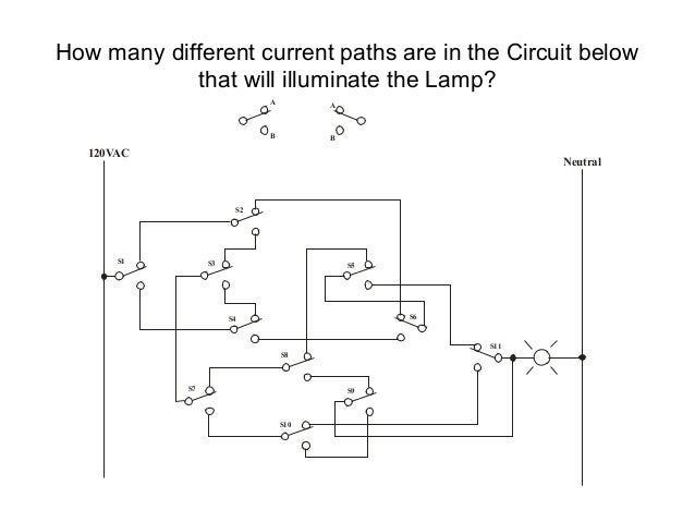 How many different current paths are in the Circuit below            that will illuminate the Lamp?                       ...