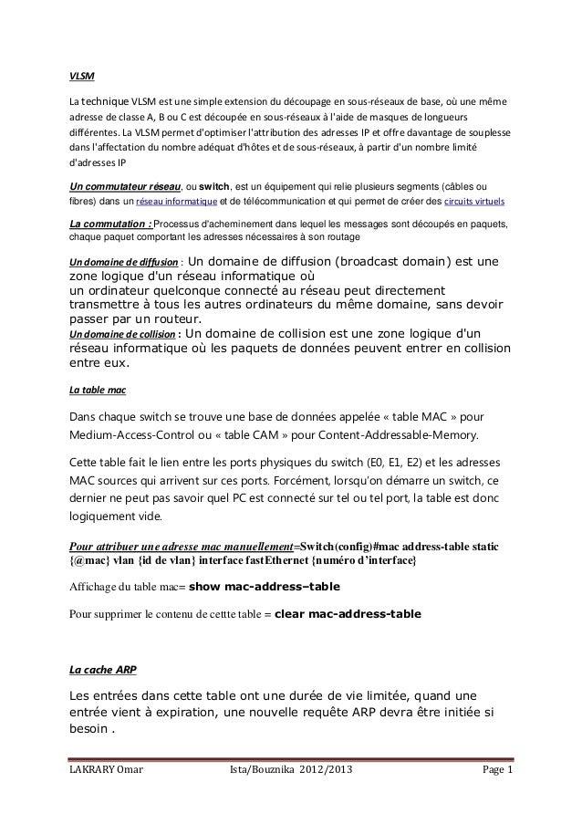 LAKRARY Omar Ista/Bouznika 2012/2013 Page 1 VLSM La technique VLSM est une simple extension du découpage en sous-réseaux d...
