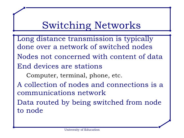 Switching Networks <ul><li>Long distance transmission is typically done over a network of switched nodes </li></ul><ul><li...