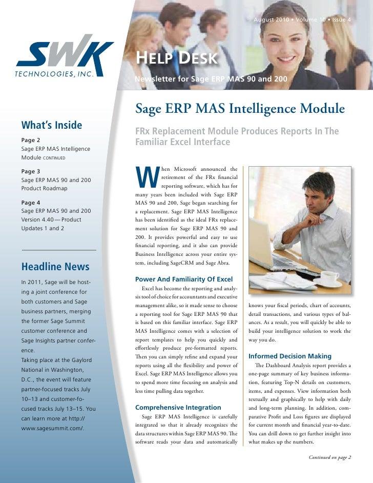 August 2010 • Volume 10 • Issue 4                                HELP DESK                                Newsletter for S...