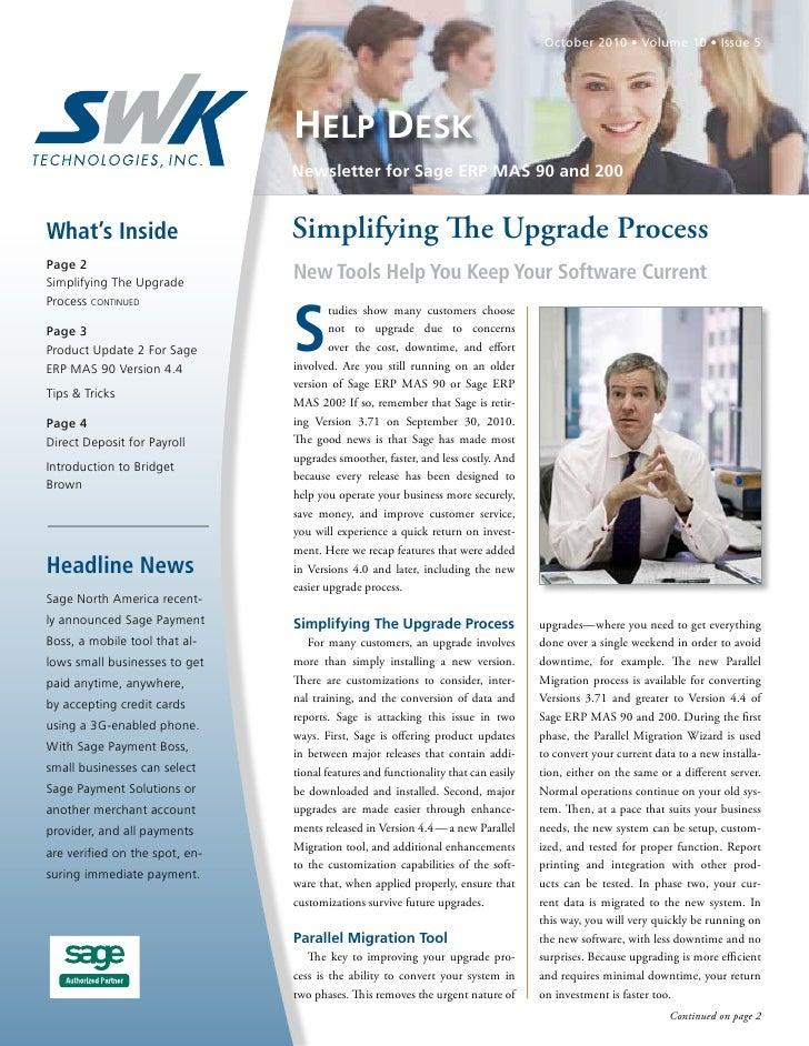 Sage MAS 90/200 Newsletter -SWK Technnologies