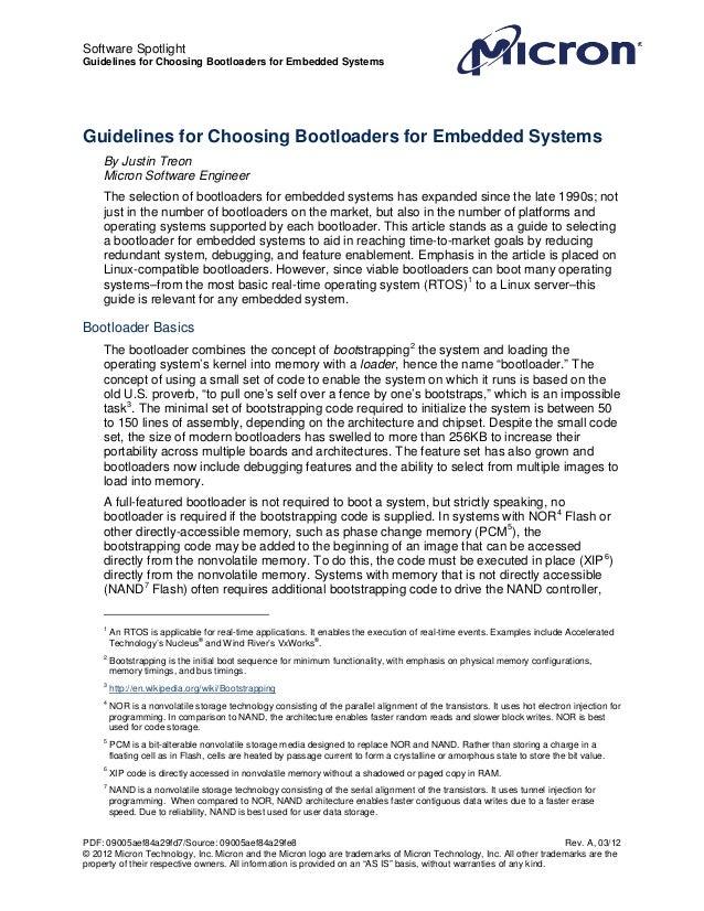 Software SpotlightGuidelines for Choosing Bootloaders for Embedded SystemsGuidelines for Choosing Bootloaders for Embedded...