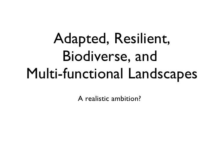Adapted, Resilient, Biodiverse, and  Multi-functional Landscapes <ul><li>A realistic ambition? </li></ul>
