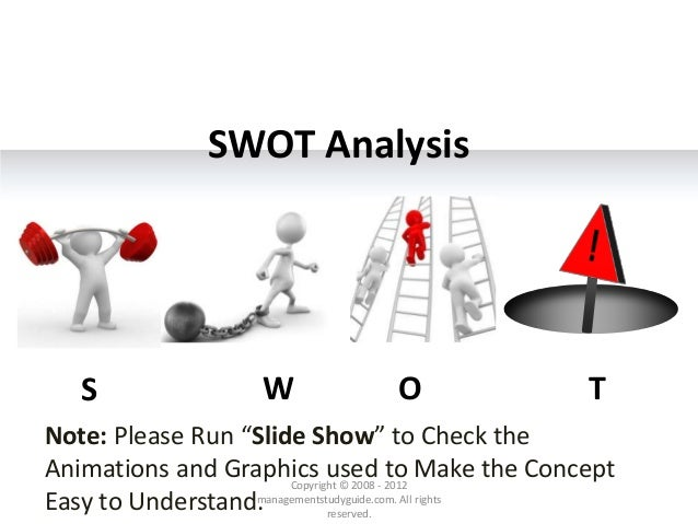"SWOT Analysis S W O T Copyright © 2008 - 2012 managementstudyguide.com. All rights reserved. Note: Please Run ""Slide Show""..."