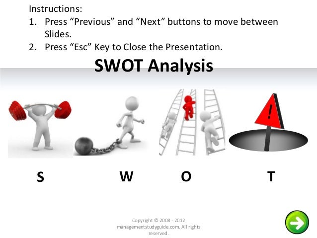 "SWOT Analysis S W O T Copyright © 2008 - 2012 managementstudyguide.com. All rights reserved. Instructions: 1. Press ""Previ..."