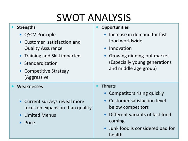 swot matrix for mcdonald s Complete a swot analysis for mcdonald's to include so, wo, st, and wt strategies, then develop a space matrix for mcdonald's using.