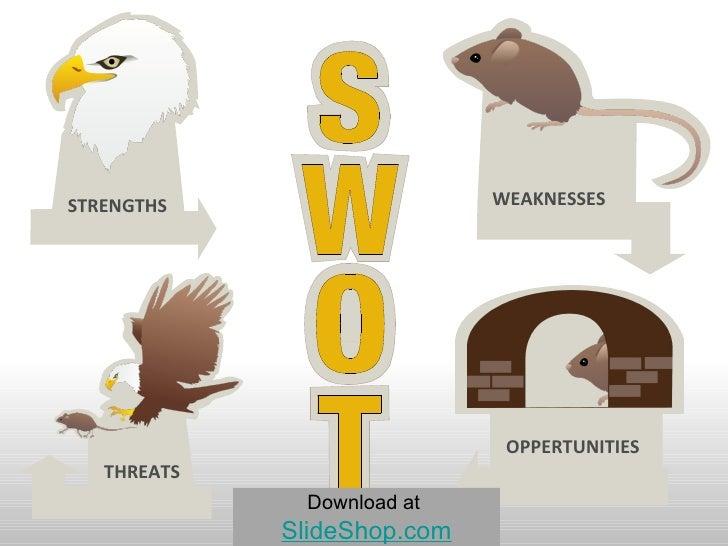 STRENGTHS WEAKNESSES THREATS OPPERTUNITIES Download at   SlideShop.com