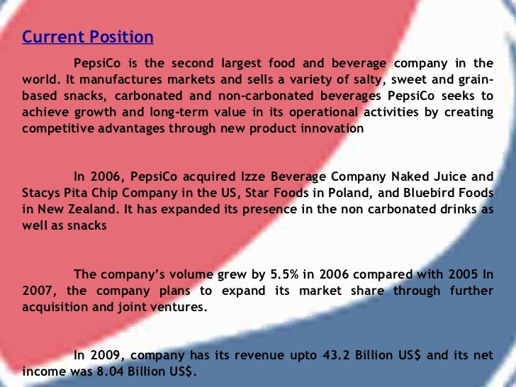 swot analysis pepsi Swot analysis conducting a swot analysis of pepsico will help the company determine where change is possible if the company is at a turning point, an inventory of its strengths and weaknesses can reveal possibilities.