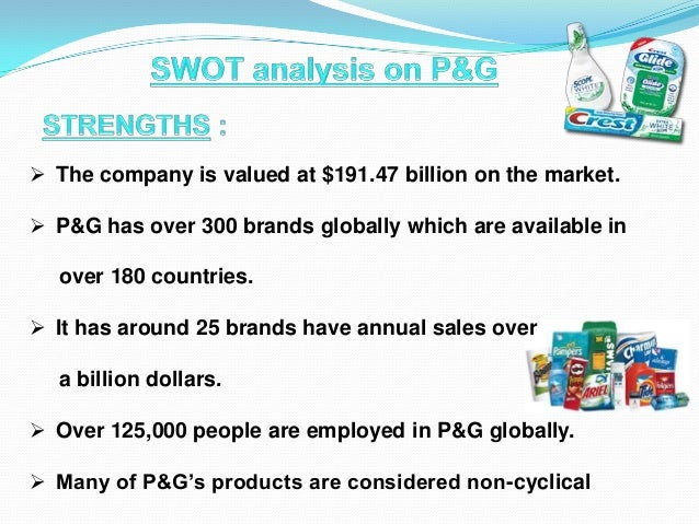 p g swot analysis View homework help - mba 6024 [u06a1] unit 6 assignment 1- swot analysis of p&g from mba 6024 at capella university swot analysis of p&g proctor and gamble procter and gamble (p&g) was set up.