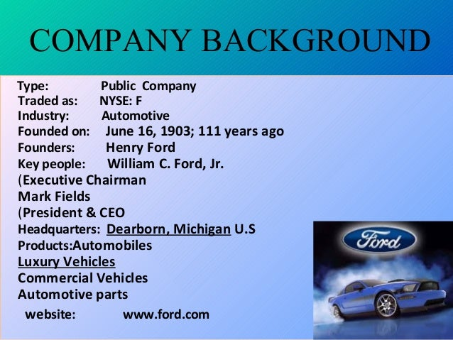 Ford Company Swot Of Analysis