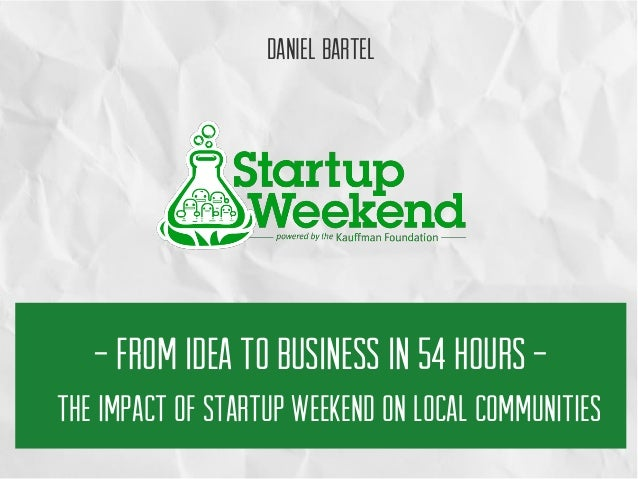 The Impact of Startup Weekend on Local Communities