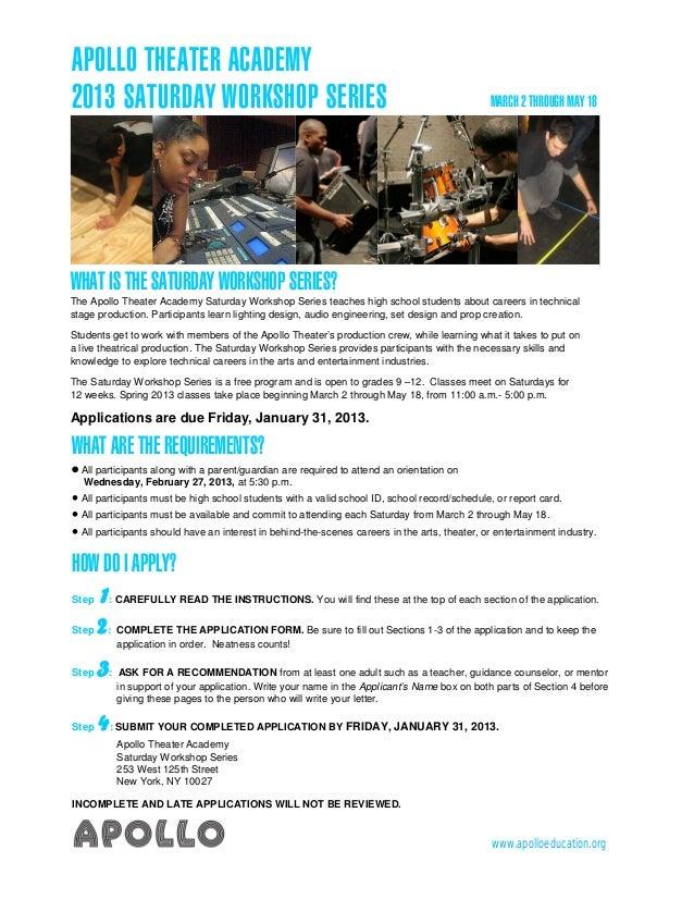 2013 Saturday Workshop Series application