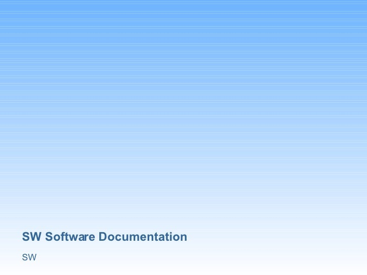 SW Software Documentation SW