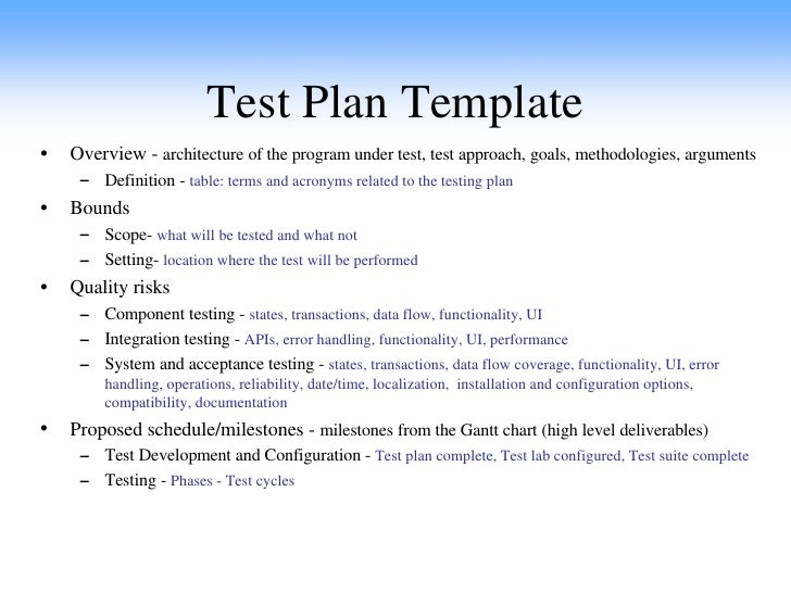 Test Plan Template Format Sample Of Test Plan Template Sample ...