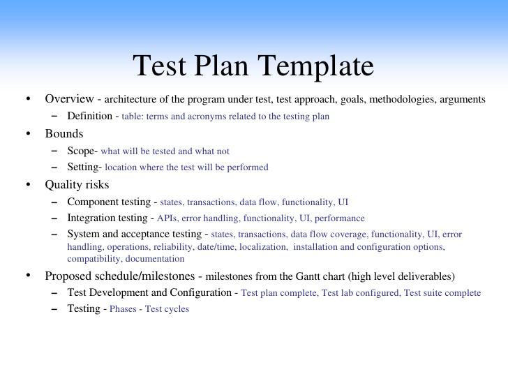 Inspection Test Plan Template