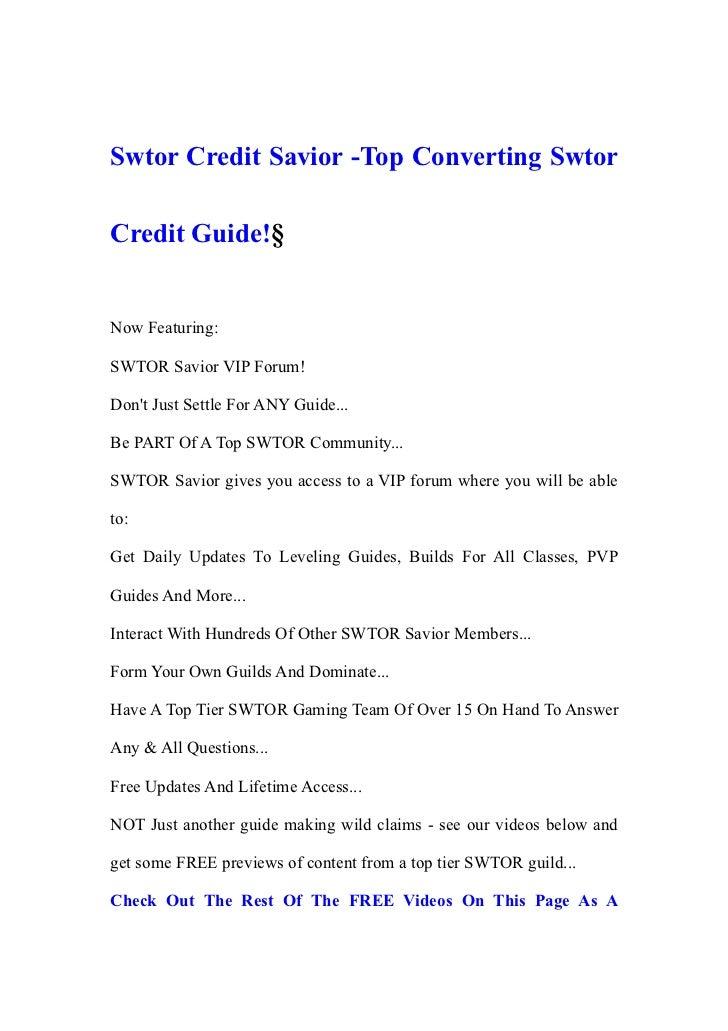 Swtor credit savior