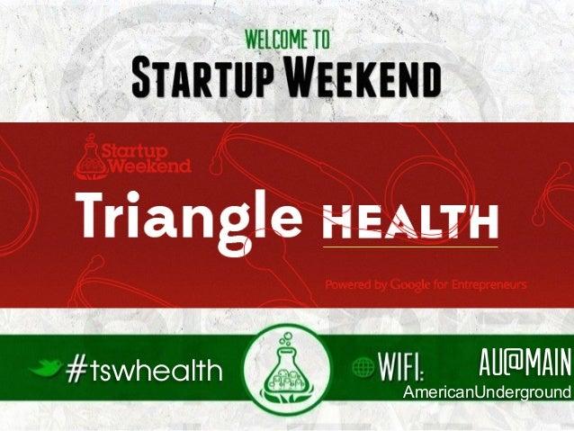 Triangle Startup Weekend Health - Friday Night Facilitator's Deck