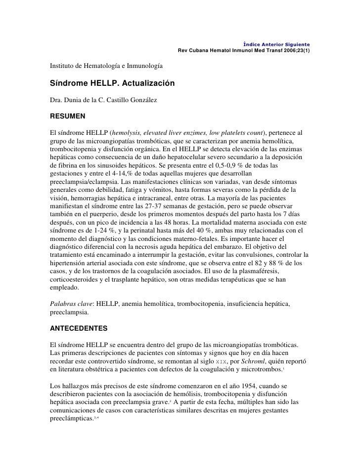 """HYPERLINK """" http://bvs.sld.cu/revistas/hih/vol23_01_07/hihsu107.htm""""  Índice Anterior SiguienteRev Cubana Hematol Inmunol..."""