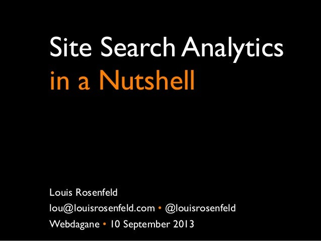 Site Search Analytics in a Nutshell Louis Rosenfeld lou@louisrosenfeld.com • @louisrosenfeld Webdagane • 10 September 2013