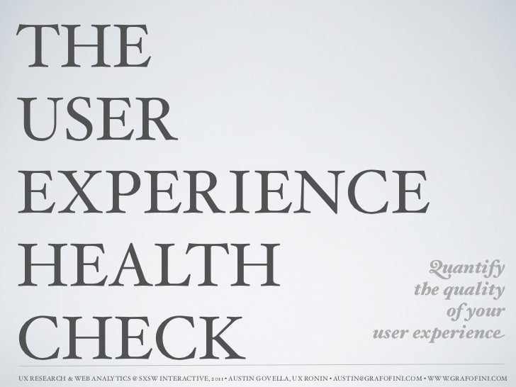 THEUSEREXPERIENCEHEALTH                                                                                         Quantify  ...