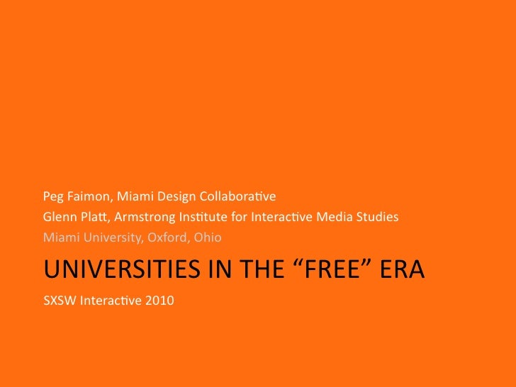 "Universities in the ""Free"" Era"