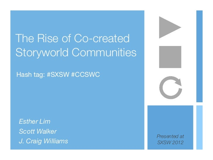 The Rise of Co-createdStoryworld CommunitiesHash tag: #SXSW #CCSWCEsther LimScott Walker                         Presented...