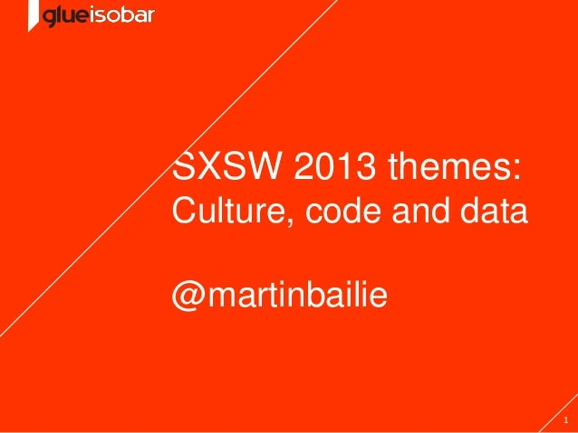 1SXSW 2013 themes:Culture, code and data@martinbailie