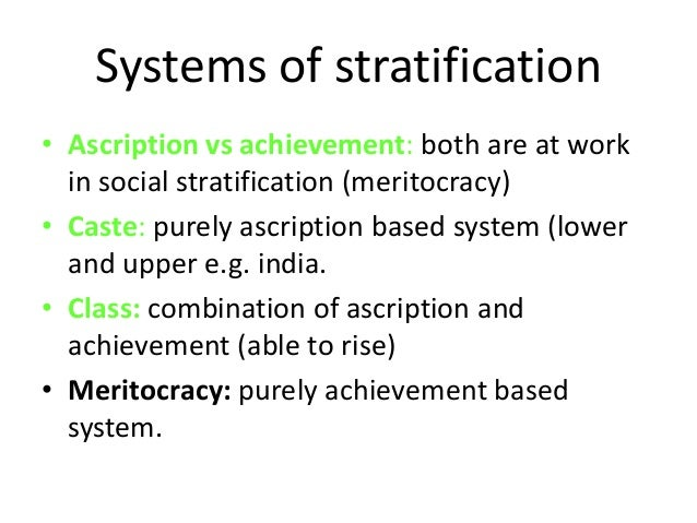 ascription vs achievement Trompenaars' achievement vs ascription dimension describes social status based on what one does or who one is the united states is a culture in which people build who they are through work, so its social status tends to be based on ascription.