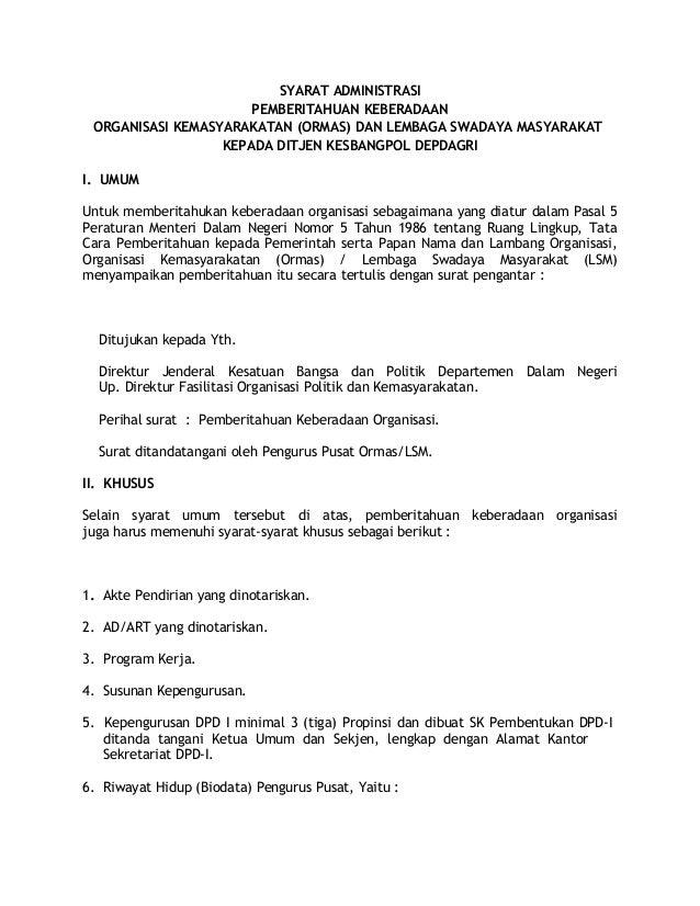 Syarat Administrasi Pendaftaran Ormas Di Kesbangpol