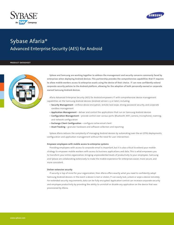 Sybase Afaria için Samsun Advanced Enterprise Server Farkları