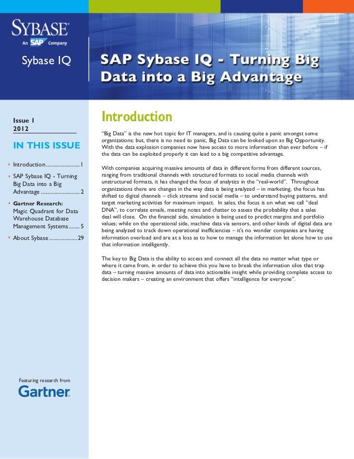 """Sybase IQIssue 1                                    Introduction2012                                           """"Big Data"""" ..."""