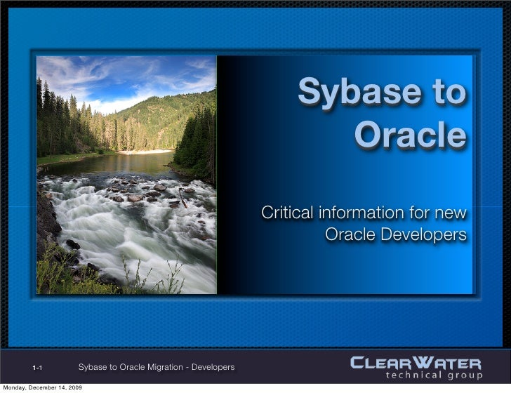 Sybase to                                                        Oracle                                                 Cr...